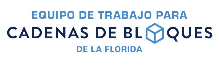 Botón con logo del Equipo de Trabajo para Cadenas de Bloques de la Florida