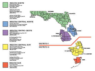 Mapa de Distritos Regionales de la DIFS