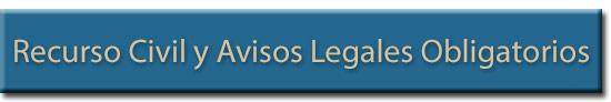Encabezado de Avisos Legales Obligatorios para Recurso Civil